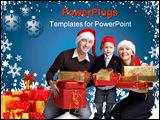 PowerPoint Template - Isolated studio shot of happy young family of three wearing smart casual clothes