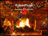 PowerPoint Template - Christmas Fireplace ~ log fire burns in open fireplace with garland and fairy lights.
