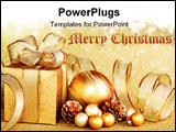 PowerPoint Template - Christmas gift box with christmas ball on golden background