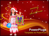 PowerPoint Template - Little girl with Santa\
