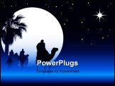 PowerPoint Template - Nativity scene with wise men on camels going through the desert