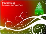PowerPoint Template - Artistic Christmas tree on snowy swirls.