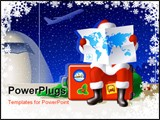 PowerPoint Template - anta Claus at the airport is sitting on a suitcase and selecting a route for the Christmas travel.