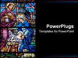 PowerPoint Template - tained glass window in 19th century (st. mary