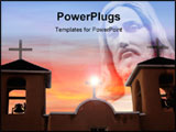 PowerPoint Template - Mission in Taos New Mexico with a beautiful pink sky in the background