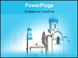 PowerPoint Template - Oriental white Church with blue cupola against the sky