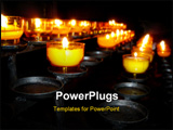 PowerPoint Template - Burning candles in a church for worship.