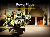 PowerPoint Template - an image of flower with the church doors before a wedding