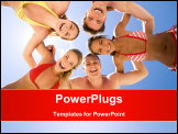 PowerPoint Template - Circle of joyful teenagers hugging each other during summer vacations and looking at camera