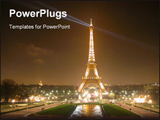PowerPoint Template - Eiffel tower at night in Paris.