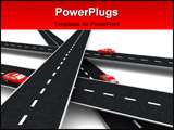 PowerPoint Template - 3d illustration of roads cross with cars on it