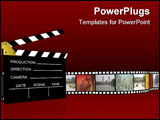 PowerPoint Template - 3d illustration of cinema industry vintage projectorclapboard .