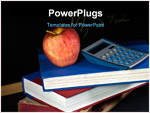 PowerPoint Template - Apple and a calculator on a stack of hardcover books.