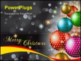 PowerPoint Template - Elegant Classic Christmas Greetings background for flyers, invitations, cards or posters. New Baubles with stars and Rainbow colors
