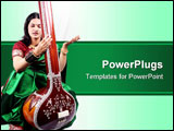 PowerPoint Template - An Indian classical singer with the string instrument called Tanpura.