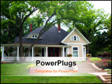 PowerPoint Template - Extremely colorful classic restored house in rural city