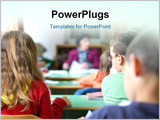 PowerPoint Template - Kids in classroom studying photographed from behind