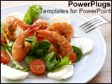PowerPoint Template - A plate of delicious food sits on the table in a delicate arrangement.