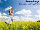 PowerPoint Template - Woman smiles happily amonst a sea of golden flowers.
