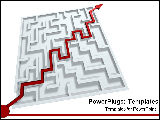 PowerPoint Template - Red line pointing to success through maze.