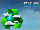 PowerPoint Template - Climate change concept planet earth with clouds and recycling symbol arrows