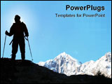 PowerPoint Template - Climber in the snowy mountains on sky background