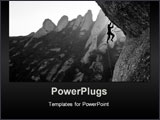 PowerPoint Template - a rock climber stuggles to hold on