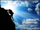 PowerPoint Template - climber silhouette against big colorado sky with clouds