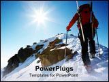 PowerPoint Template - Male ski-climber climbing a snowy ridge; horizontal frame. Italian alps.