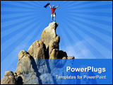 PowerPoint Template - Climber on the summit of a rock spire in the Sierra Nevada Mountains California on a summer day.