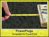 PowerPoint Template - yellow measuring tape and us dollars concept of how close to success in business.