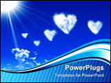 PowerPoint Template - Images of hearts in the blue sky against a background of white clouds
