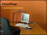 PowerPoint Template - in a office room computer in a table with chair
