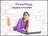 PowerPoint Template - girl working with laptop laying on keyboard
