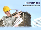 PowerPoint Template - an engineer instructing for construction with planner