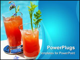 PowerPoint Template - loody Mary alcohol cocktails garnished with borage flowers and celery on swimming pool side outside