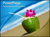 PowerPoint Template - View of nice fresh tropic cocktail decorated with orchid on sandy beach
