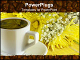 PowerPoint Template - morning cup of coffee with flowers on the table.
