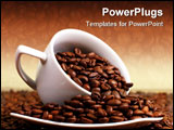 PowerPoint Template - Cup of coffee full with roasted beans.