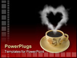 PowerPoint Template - cup of coffee and steam like a heart red-black background