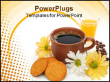 PowerPoint Template - a beautiful coffee breakfast with cookies, orange juice, coffee beans and flowers.