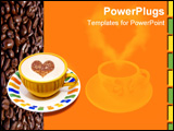 PowerPoint Template - Fresh cup of coffee on coffee beans and orange background with room for text