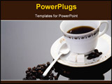 PowerPoint Template - A cup of coffee on silver background