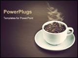 PowerPoint Template - cup full with coffee seeds in dark scene
