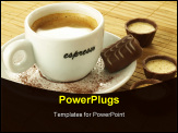 PowerPoint Template - Coffee with appetizing pralines on bamboo placemat