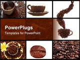 PowerPoint Template - Red cup of coffee on coffee beans with cinnamon and white rose