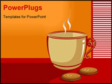 PowerPoint Template - Illustration of a cup of coffee in a table with dollar biscuit