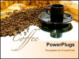 PowerPoint Template -  black coffee cup with saucer is resting on a mirror a trail of coffee beans leads the viewers eye