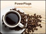 PowerPoint Template - white cup of coffee and beans over bamboo background
