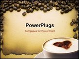PowerPoint Template - frame made of coffee beans on the background of old paper